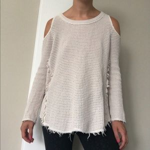 Free People Sweater White XS Boho Open Shoulder
